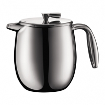 11055-16 French press coffee maker, double wall, 4 cup, 0.5 l, 17 oz, ss Shiny bodum