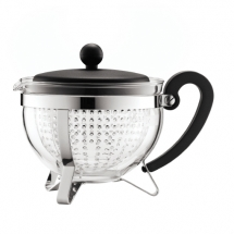1975-01 Tea pot, 1.0 l, 34 oz with coloured plastic lid, handle and knob, transparent filter Black bodum