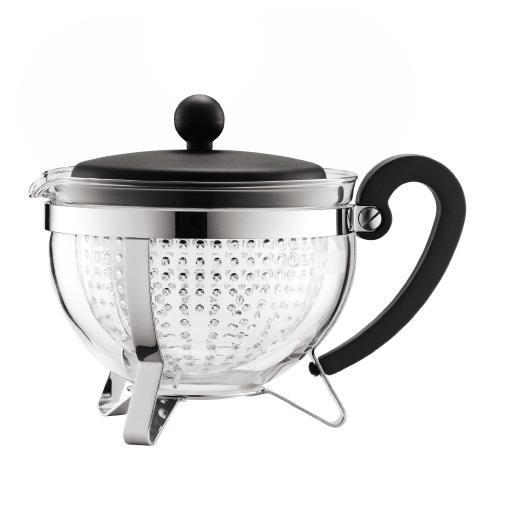 1975-01 Tea pot, 1.0 l, 34 oz with coloured plastic lid, handle and knob, transparent filter Black bodum