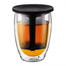 K11153-01US Glass, double wall, 0.35 l, 12 oz and tea strainer Black bodum
